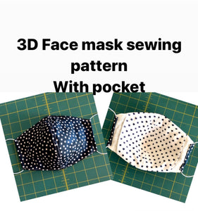 Facemask; facemask with pocket; face mask sewing pattern with  pocket