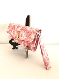 fabric wallets fabric clutch with strap; rose wallets; pink wallets; pink clutch