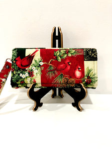 Christmas theme cardinal clutch wallet with 12 card slots | BLHandmade