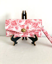 Load image into Gallery viewer, fabric wallets fabric clutch with strap; rose wallets; pink wallets; pink clutch