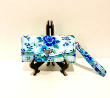 Load image into Gallery viewer, Wallets ; purses; fabric wallet; floral wallet; blue clutch; floral clutch