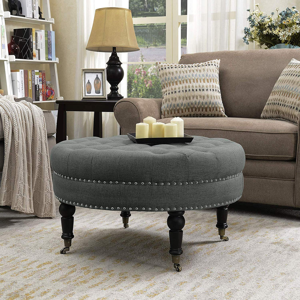 Pleasing Belleze 33 Inch Round Tufted Linen Ottoman Large Footstool Cocktail With Caster Gray Alphanode Cool Chair Designs And Ideas Alphanodeonline