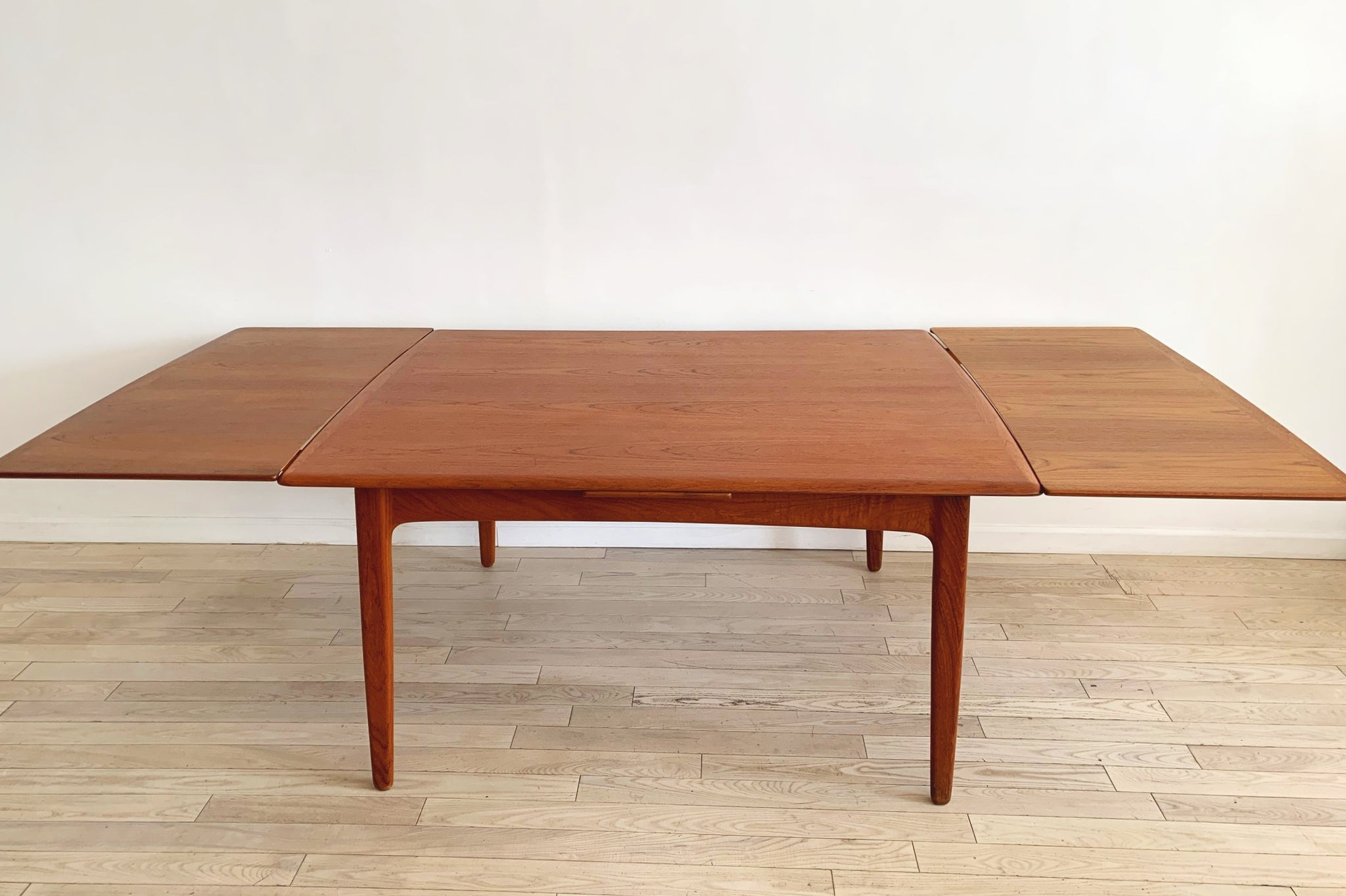 Mid Century Danish Teak Expandable Dining Table by Svend Madsen