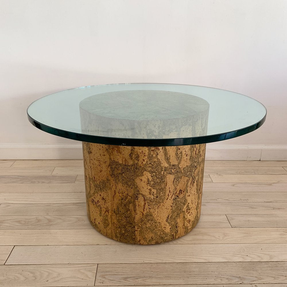 1970s Cork and Glass Drum Table