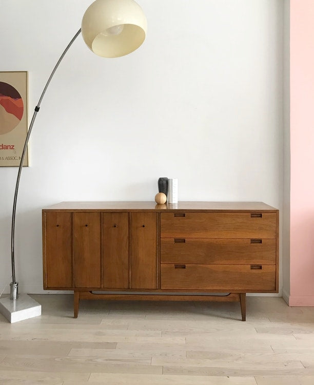 Mid Century Walnut Martinsville 6 Drawer Credenza