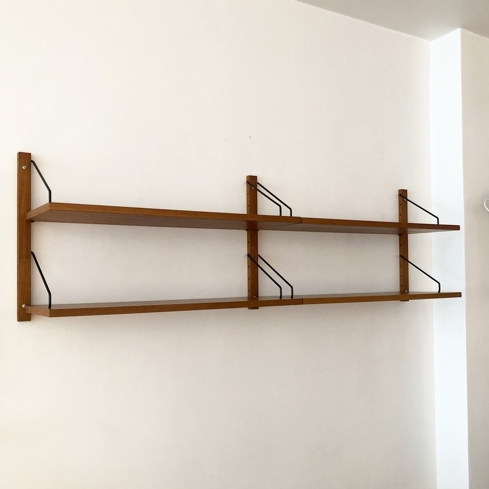 Mid Century Danish Teak Poul Cadovius Floating Shelving Unit