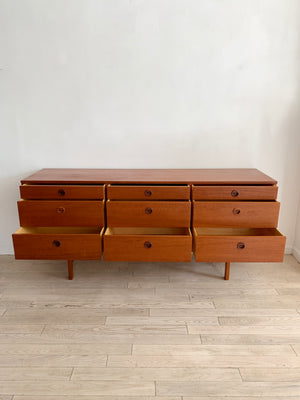 1960s Teak 9-Drawer Credenza by Folke Ohlsson for Dux, Sweden