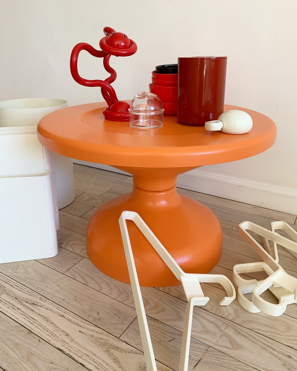 1960s Orange Rocchetto Table by A & P.G. Castiglioni for Kartell