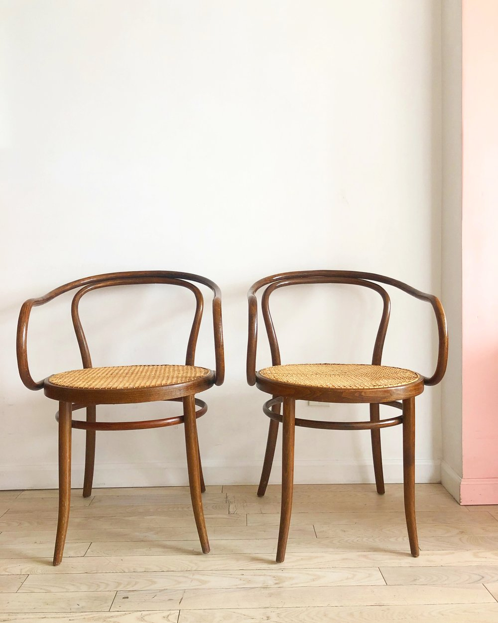 Pair Of Mid Century Bentwood B9 Thonet Arm Chairs Home Union Nyc