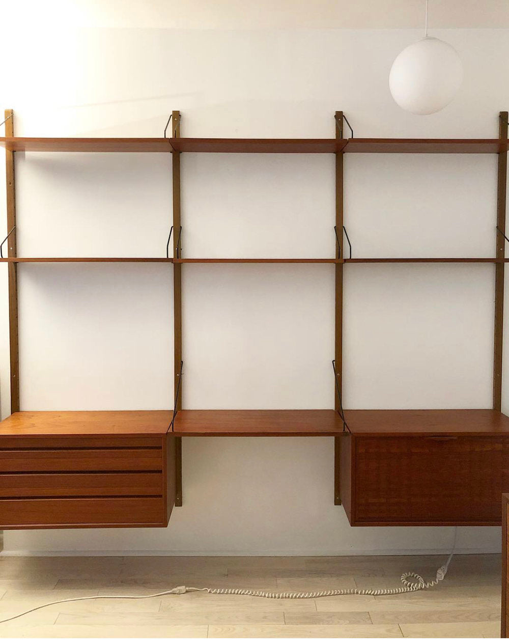1950s Danish Royal System Teak 3-Bay Refinished Wall Unit by Poul Cadovius