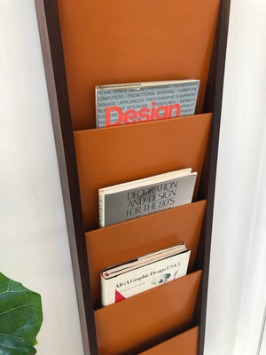 1970 Peter Pepper Products Rosewood Wall Mount Magazine Rack