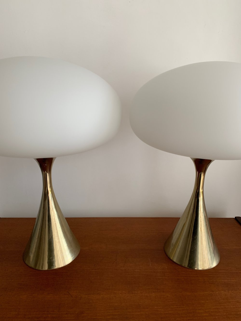 Mid Century Brass Mushroom Laurel Lamps by Bill Curry