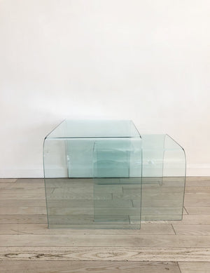 1980 Italian Fiam Bent Glass Waterfall Nesting Tables By Angelo Cortesi