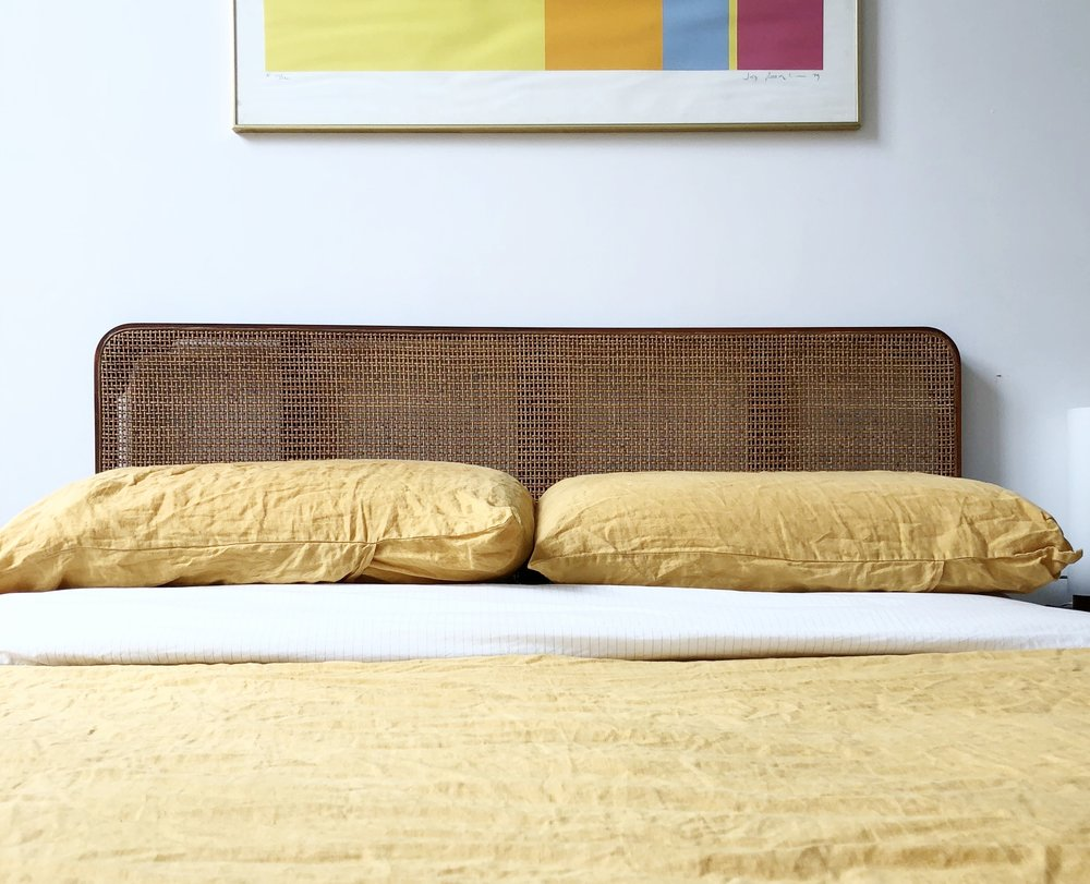 George Nelson for Herman Miller 1950s Walnut & Cane Headboard