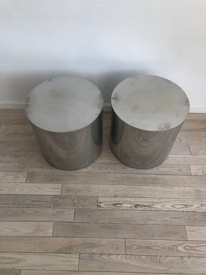 Paul Mayen for Habitat 1970s Polished Aluminum Drum Table