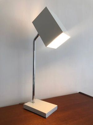 Mid Century White Cube Robert Sonneman Task Lamp for Kovacs