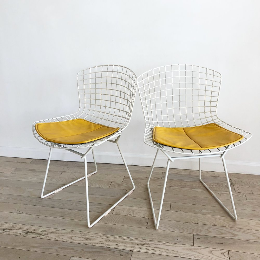 Pair of Mid Century Knoll Bertoia Side Chairs in White w/ Yellow