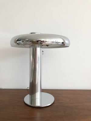 Early 1970s Polished Chrome Table Lamp by Laurel