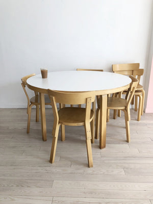 Vintage Alvar Aalto Dining Table + 6 Dining Chairs -Set ...