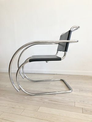 "Pair of Mies Van Der Rohe ""MR"" Chrome and Leather Chairs-Pair of 2"