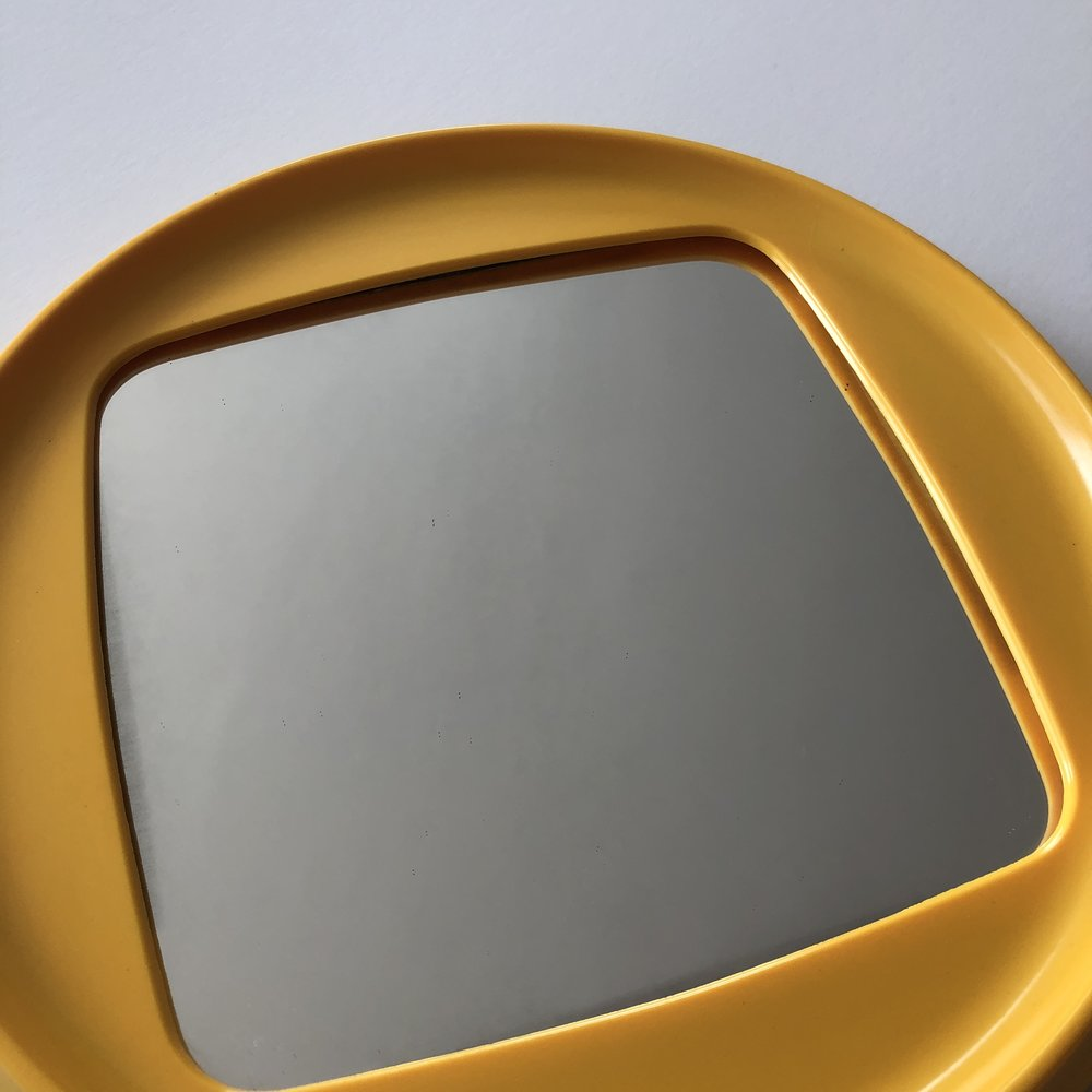 Space Age Yellow Plastic Mid Century Mirror