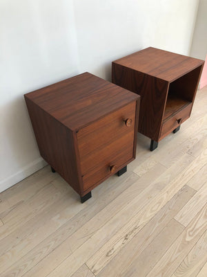1950s Walnut George Nelson for Herman Miller Pair of Nightstands