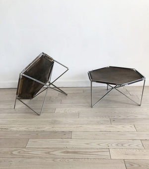 Mid Century Leather + Chrome Caged Side Tables- Each