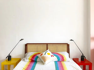 1960s Walnut + Cane Full/Queen headboard by Founders