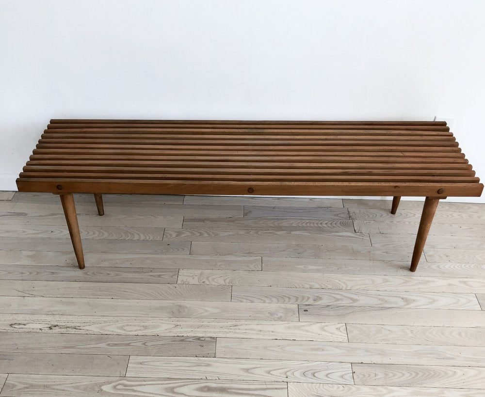 Mid Century Yugoslavian Slat Bench / Coffee Table