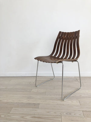 1958 Hans Brattrud for Hove Mobler Norwegian Rosewood Slatted Bentwood Chair