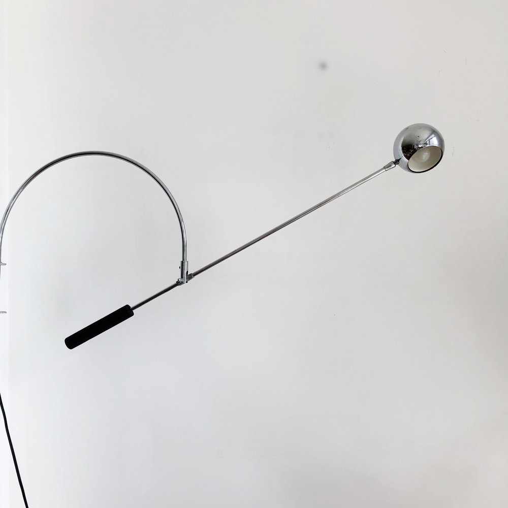 Robert Sonneman 1960s Chrome Arm Orbiter Wall Sconce Light