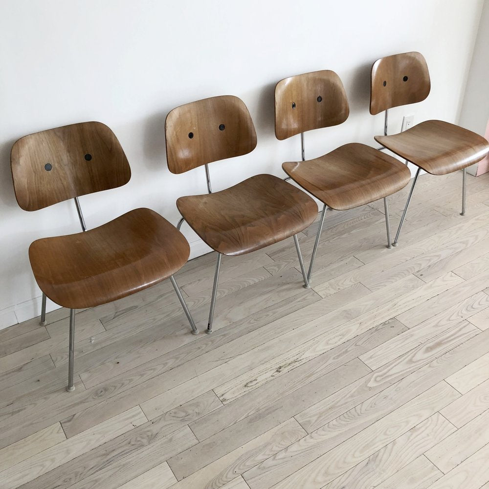 Original Early Eames for Herman Miller DCM Set of 4 Chairs