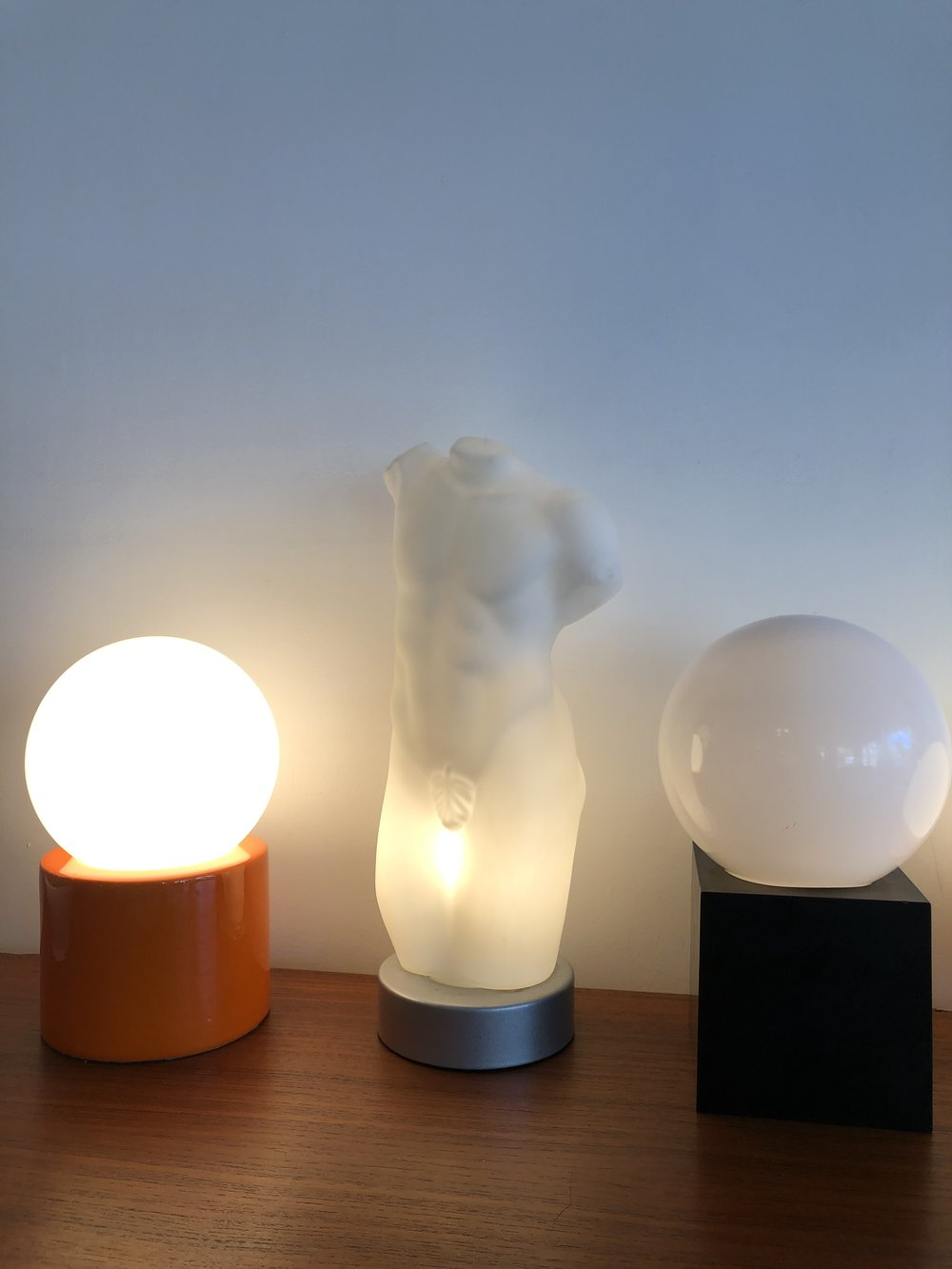 Post Modern frosted Glass Italian Male Torso Table Lamp