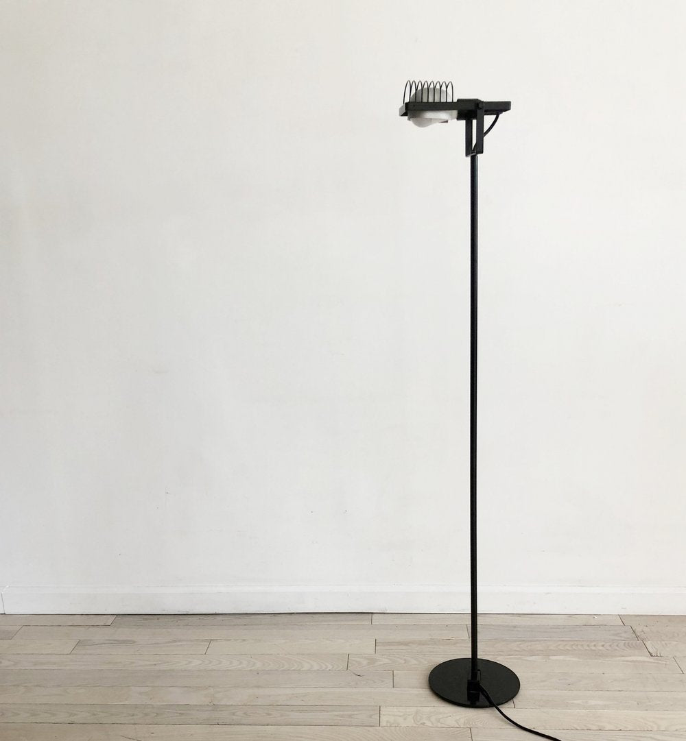 1970s Italian Ernesto Gismondi for Artemide Black Metal Floor Lamp