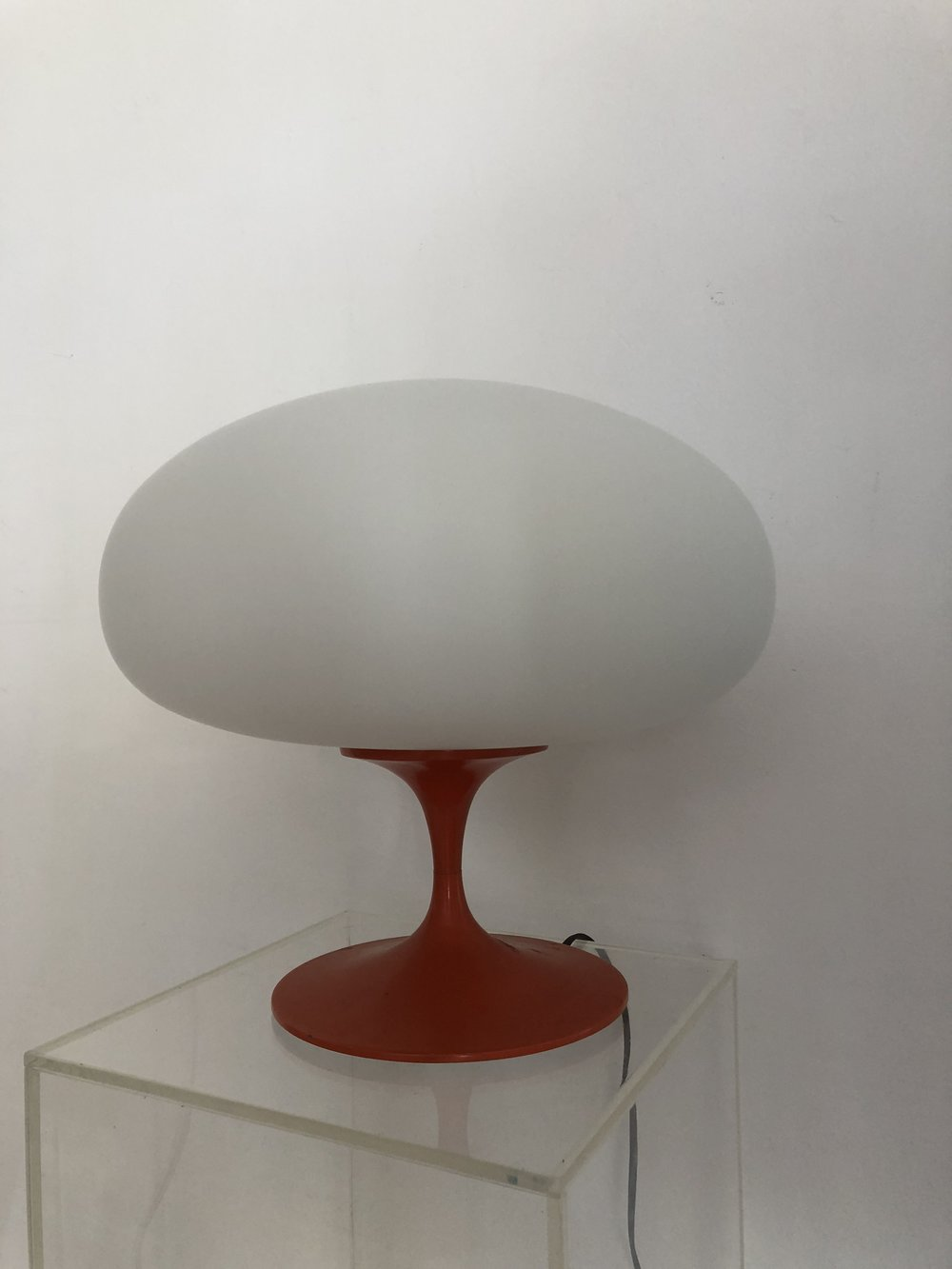 1960s Orange Laurel Lamp w/ Frosted Glass Mushroom Shade