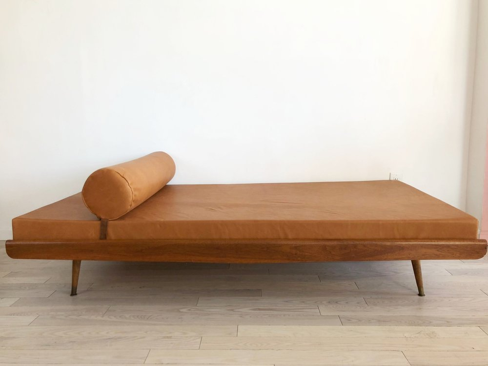 Stunning Mid Century Daybed in Caramel Genuine Leather Upholstery