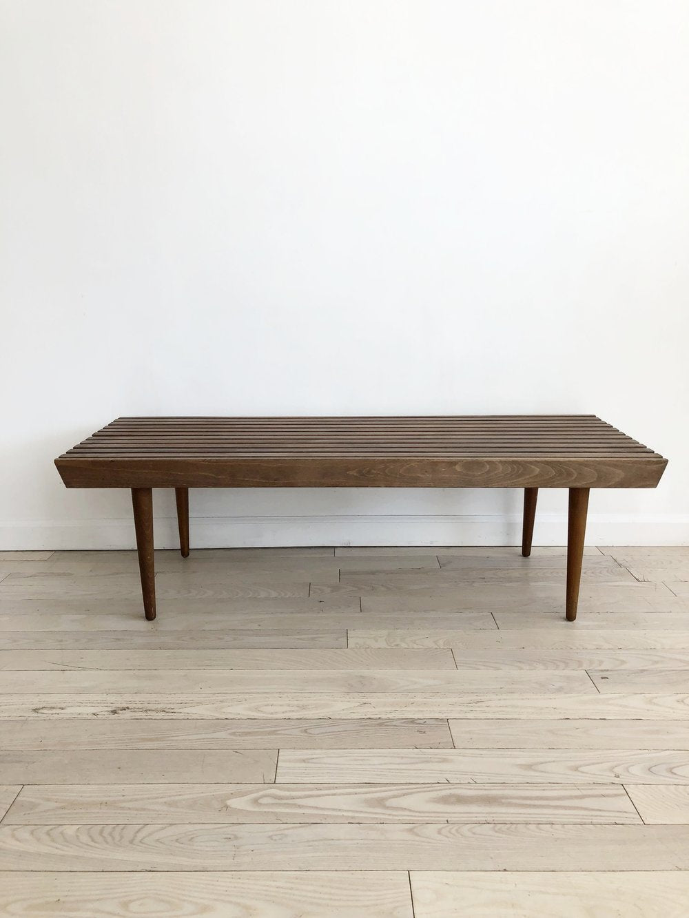 Petite Mid Century Slat Bench / Coffee Table