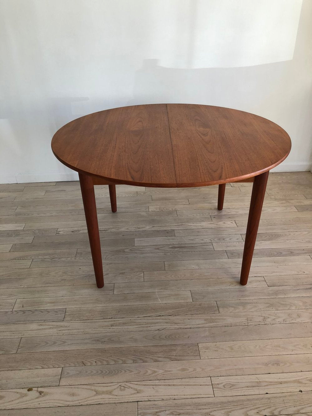 Mid Century Danish Teak Circle Dining Table with Leaves Refinished