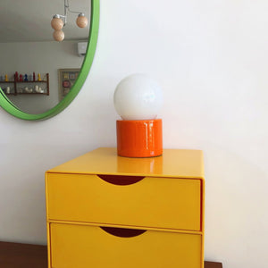 Vintage Italian Orange Ceramic Orb Table Lamp