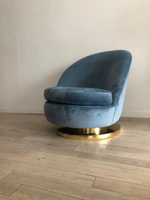 1970s Blue Velvet Swivel/Rocking Milo Baughman for Thayer Coggin Slipper Chair