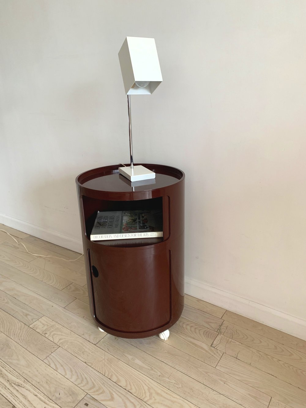 Burgundy Tall Componibili Unit on Caster Wheel by Anna Castelli for Kartell