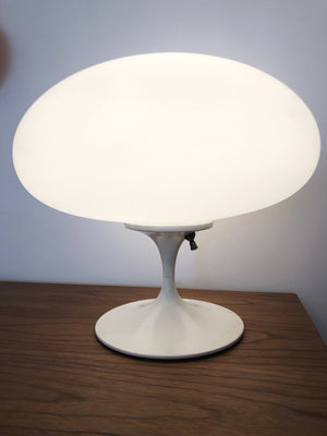 Mid Century Frosted Glass Mushroom Laurel lamp w/ White Base - Each