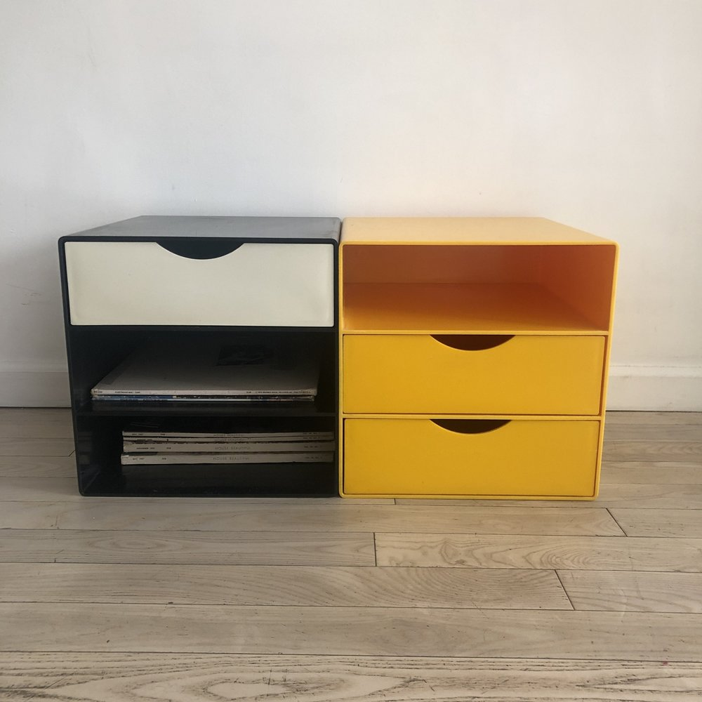 1970s Colored Plastic Modular Cube Storage-pair