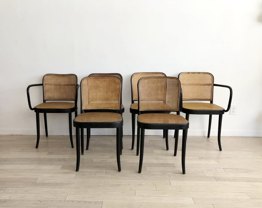 Set of 6 1960s Josef Hoffmann N.811 Prague Dining Chairs by Thonet