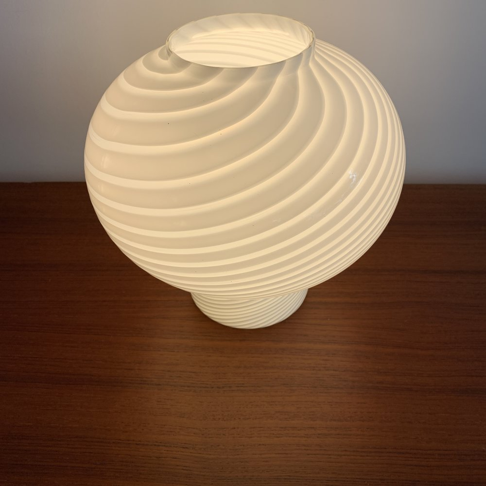 1970s Vetri Murano Hand Blown Swirl Glass Mushroom Lamp