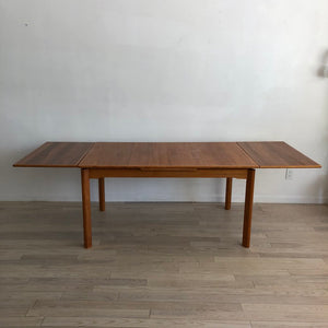 Danish Teak Mid Century Dining Table with Push-Pull Leaves