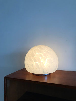 Vintage 1970s Murano Glass Speckled Orb Table Lamp