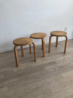 1960s Authentic Alvar Aalto Beech 3-Legged Stacking Stools-Set of 3