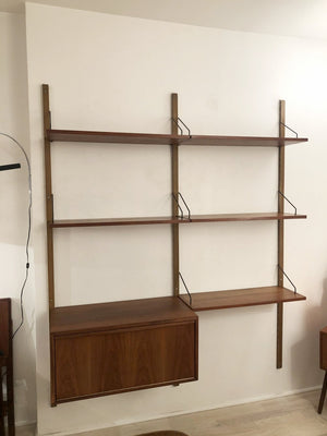 Mid Century Danish Teak Cado 2-Bay Wall Unit