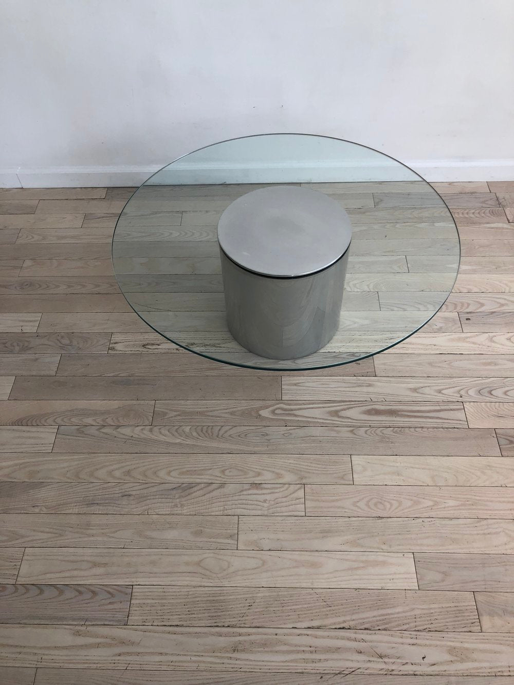 Paul Mayen Aluminum Drum and Circle Glass Coffee Table